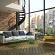 Foto de Stock  : Modern loft interior with part of second floor