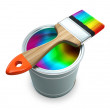 Bank with rainbow  paint and brush — Stock Photo