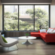 Modern interior with red sofa — Stock Photo #26566743