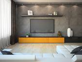 Modernes Interieur mit Orange Schrank und tv — Stockfoto