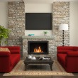Modern interior with red sofas and fireplace — Stock Photo
