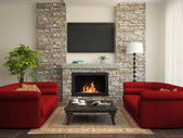 Interior moderno con sofás rojos y chimenea — Foto de Stock