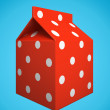 Red milk box isolated on blue background — Stok fotoğraf