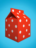 Red milk box isolated on blue background — 图库照片