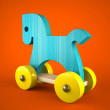 Blue wood horse on red background (symbol of the new year 2014) — Foto de Stock