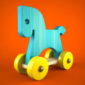 Blue wood horse toy on red background (symbol of the new year 20 — Stock Photo