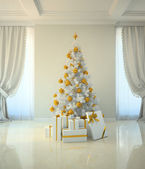 Christmas tree room in classic style — Stock Photo