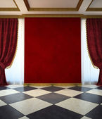 Red unfurnished room in classic style — Stok fotoğraf