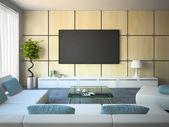 Interior moderno com sofás brancos e almofadas em azul — Fotografia Stock