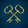 Two golden key isolated on blue background — Stock Photo #51449155