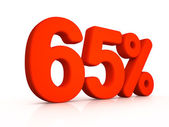 Sixty five percent simbol on white background — Stock Photo