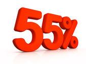 Fifty five percent simbol on white background — Stok fotoğraf