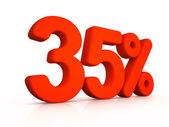 Thirty five percent simbol on white background — Foto de Stock