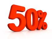 Fifty percent simbol on white background — Foto de Stock