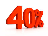 Forty percent simbol on white background — Stock Photo