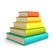 Stack of colorful books isolated on white background — Stock Photo