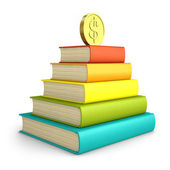 Stack of colorful books with coin on the top isolated on white b — Stockfoto