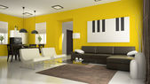 Part 4 of interior with yellow walls — Stock Photo