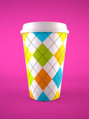 Coffee cup isolated on purple background — Stock Photo