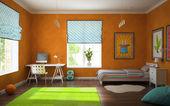 Part of interior modern childroom with orange walls — Stock Photo