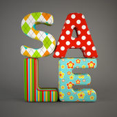 Sale fabric word isolated on grey backround — Stock Photo