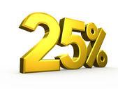 Twenty five percent symbol on white background — Stock Photo