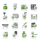 Household Gas Appliances icons — Vecteur