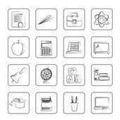 Школа и образовательные символы — Cтоковый вектор
