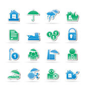 Insurance and risk icons — Vector de stock