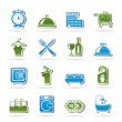Stock Vector: Hotel and motel icons