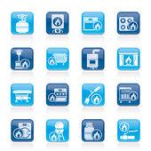 Iconos de aparatos domésticos de gas — Vector de stock