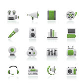Iconos de audio y video — Vector de stock