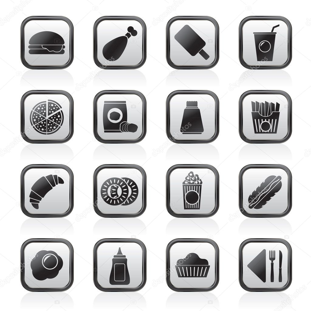 Fast food and drink icons stock illustration