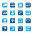 Different kind of transportation icons — Imagens vectoriais em stock