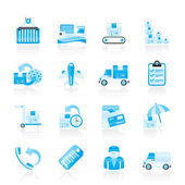 Cargo, shipping and delivery icons — Stock Vector