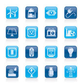Electricity, power and energy icons — Stock vektor