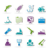 Fishing industry icons — Stock Vector