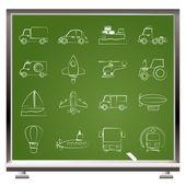 различные виды транспорта иконок — Cтоковый вектор