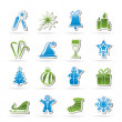 Stock Vector: Christmas and new year icons