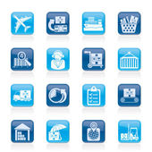 Cargo, logistic and shipping icons — Stock Vector