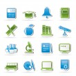Education and school objects icons - Stock Vector