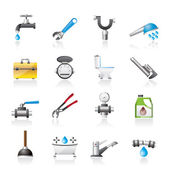 Realistic plumbing objects and tools icons — Stock Vector