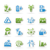 Green energy and environment icons — Stock Vector