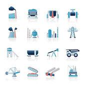 Ícones da indústria pesada — Vetor de Stock