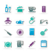 Kitchen objects and accessories icons — Stock Vector