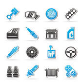 Detailed car parts icons — Stock Vector