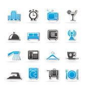 Hotel, motel and travel icons — Stock Vector