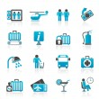 Airport, travel and transportation icons — Imagens vectoriais em stock