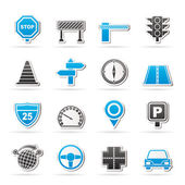 Road and Traffic Icons — Stock Vector