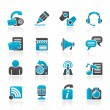 Blogging, communication and social network icons — Stock Vector